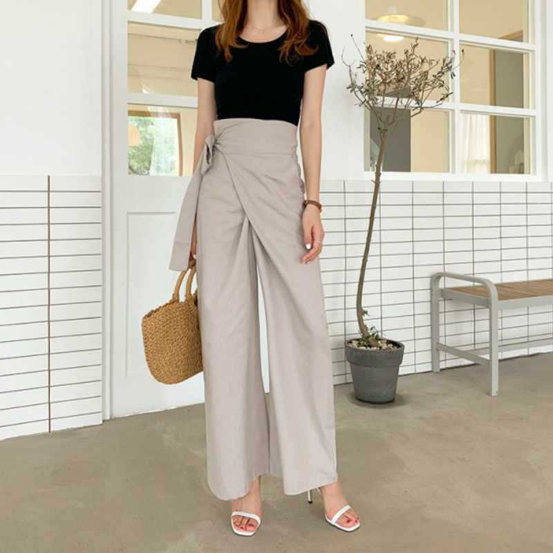 Qooth Korean Chic Pants Women Solid Drawstring High Waist Ladies Long Trousers Spring 2020 Fashion Cotton Female Trousers Qh2255