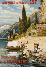 Suisse et Italie Par le St Gothard 1907 anuncio VINTAGE lata de METAL grande cartel POSTER