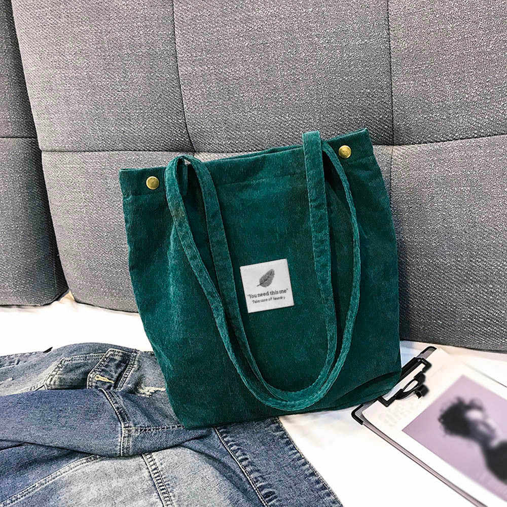 Transer Women Shoulder Bag High Capacity Corduroy Tote Ladies Pure Hand Bag Foldable Reusable Shopping Travel Beach Bag #YY