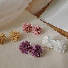 Korean velvet alloy bohemian drop earrings women 2019 white only beautiful Autumn purple flower statement fine jewelry