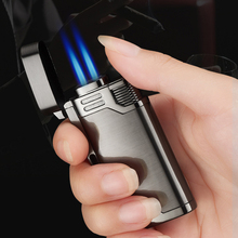 New Double Nozzles Butane Jet Pipe Lighter Metal Torch Turbo Windproof Gas Lighter 1300 C Cigar Cigarettes Keychain Lighters cute qq penguin style butane keychain lighter white black