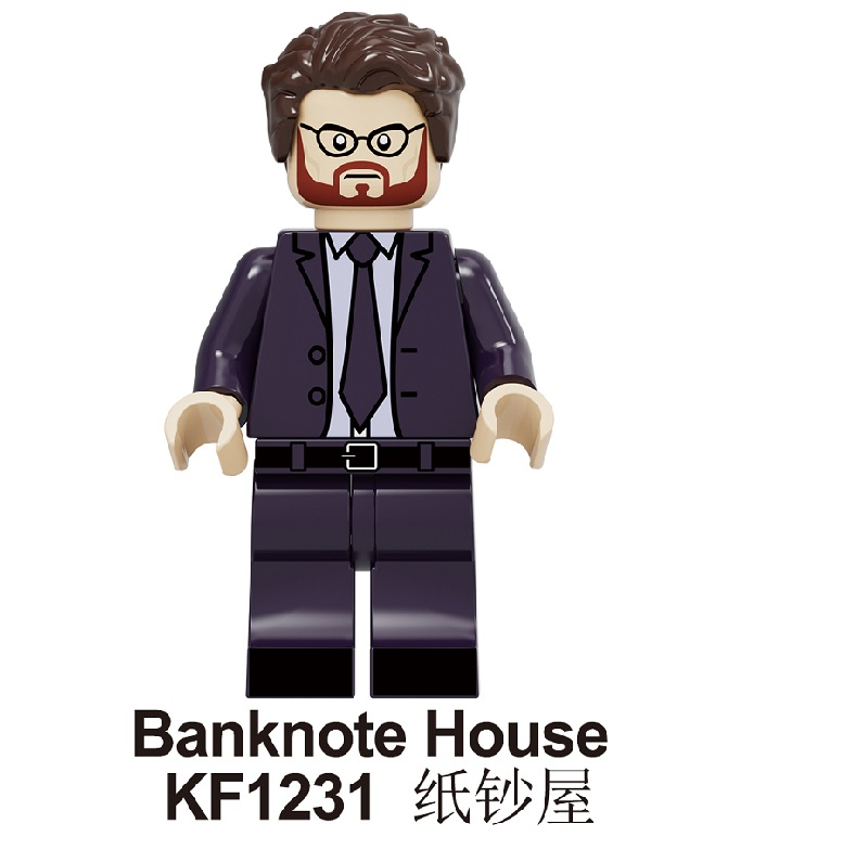 Single Sale Building Blocks Famous Suspense Movie Banknote House Money Heist Character Retired Killer Figures Toys KF1231 KF1232 image