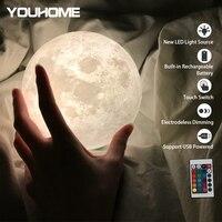 Luz nocturna de lámpara de Luna 3D recargable por USB para la casa, lampara de Control remoto de Color, luces nocturnas de regalo, envío gratis