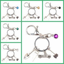 New 9 Color Crystal Stone Axe Key Ring Hacksaw Trailer Mini Pendant Chain Father Holiday Souvenir Gift Men and Women Jewelry