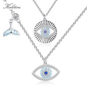 KALETINE Lucky niebieskie oko naszyjnik 925 srebro wisiorek oko proroka Choker Fishtail wisiorek do naszyjnika biżuteria prezent dla kobiet mężczyzn