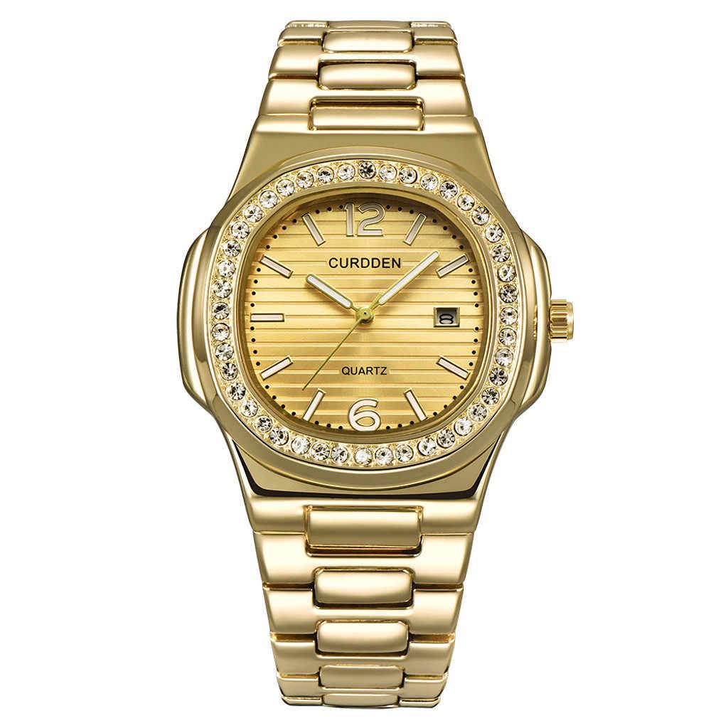 יוקרה relogio Reloj נירוסטה נאוטילוס ריינסטון שעון גברים אופנה שעון שעון שעות reloj mujer relogio masculino # F
