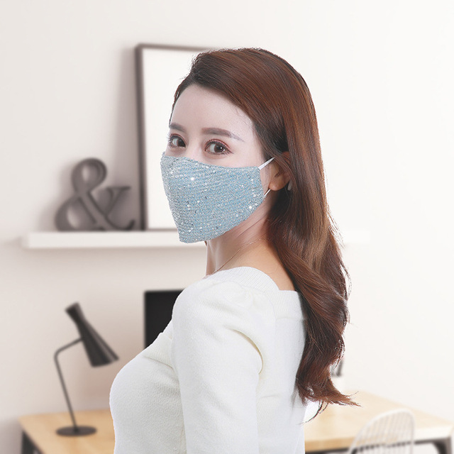 Fashion Sequin mask Cotton Keep Warm anti-haze Masks Shining Party unisex Breathable Mouth Respirator Washable Face Cover Masks 5