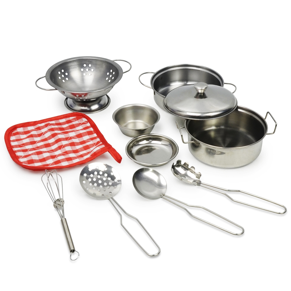 Play House Toy Stainless Steel Pots & Pans Play Set, Play Cookware Set Role Play Game For Kids Construction, 10 Pieces