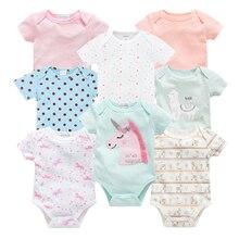2019 8PCS Newborn Baby Girl Bodysuit Cute Cartoon Hollowen Toddler Boy Jumpsuit Overall Christmas Infant Bebe Coverall