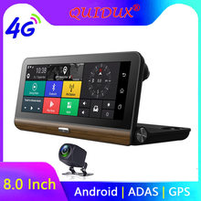 "Quidux 8 ""IPS Mobil DVR Kamera GPS 4G Android Adas Full HD 1080P Dash Cam Dual Lensa mobil Perekam Video Malam Visi Remote Monitor(China)"