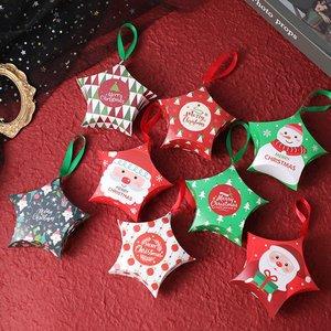 10pcs Christmas Gift Boxes Santa Claus Candy Box Christmas Tree Hanging Decor Xmas Ornaments Kids Gifts Decoration Navidad 2020