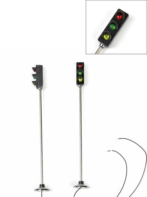 11CM HO échelle modèle feux de signalisation lumineux Table de sable modèle Architectural matériel lampadaire en métal trafic route Kits de lampe