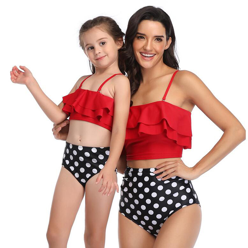 2020 New Summer Mommy and Me Swimsuit Mother and Daughter Swimsuit Women Baby Girls Swimwear Bikini Family Matching Swimsuit