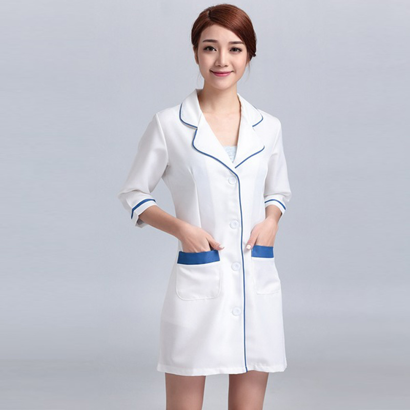 Women's Hospital Nursing Uniforms Overalls Gowns Outfit Suits White Coat Lab Coat Medical Technician