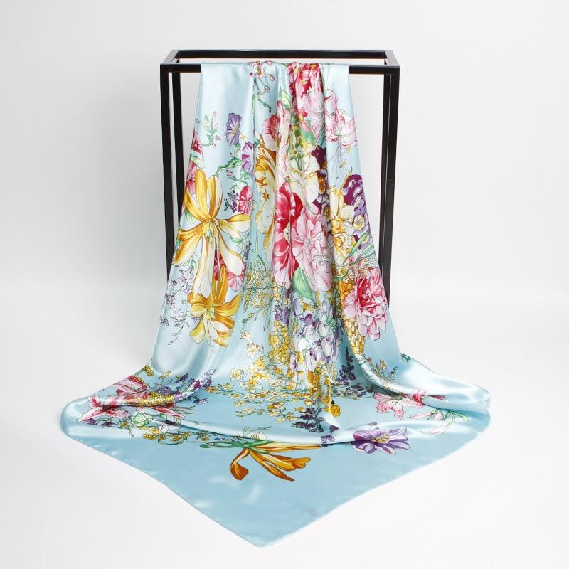 90X90cm Floral Print Retro Style Scarf Women Blue Fashion Casual Handkerchief Foulard Bandana Female Rayon Spring 4 Colors
