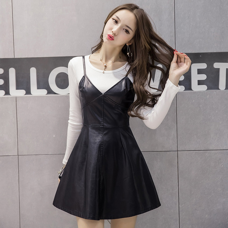 New Style Crew Neck Base + Camisole PU Leather Waist Hugging Big Skirt Two-Piece Dress Outfit