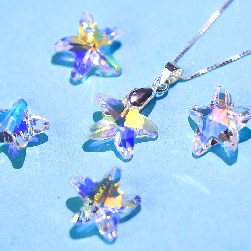 Starfish Crystal Charms Beads Rhinestone Ab-Glass Jewelry DIY 14mm Gem for Making-Earring