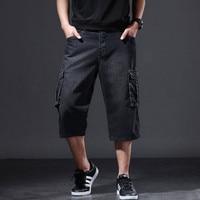 Denim Shorts Men Summer Loose 7 seven Shorts 2019 New Large size Multi pocket tooling trend Thin Denim Shorts Cycling jeans