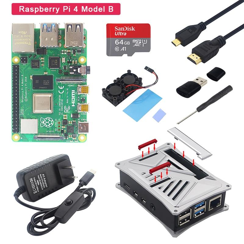 Original Raspberry Pi 4 Model B Kit 1/2/4GB RAM+ABS Case+Dual Fan+Power Adapter+Micro HDMI Cable+SD Card For Raspberry Pi 4B