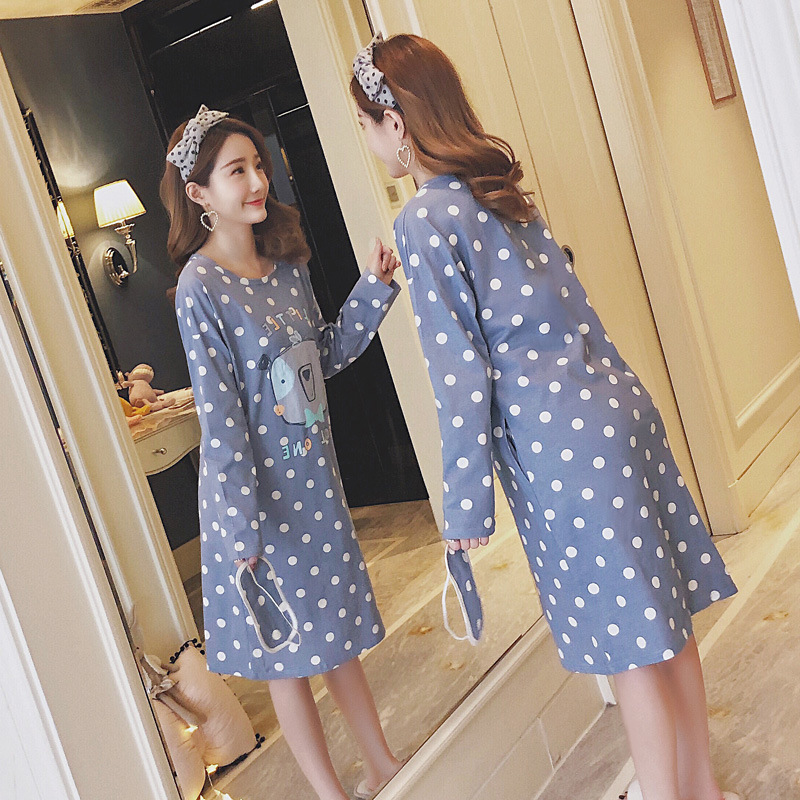 9127 # Dotted Square Face Bear Pullover XY Long Sleeve Pajamas Nightgown Tracksuit Series