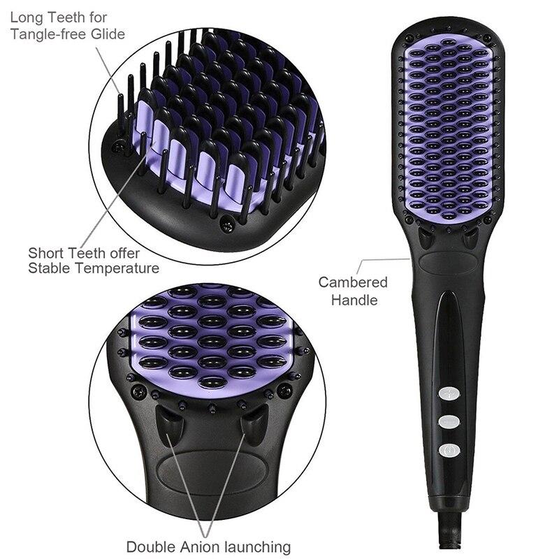 Anti-estático alisamento de cabelo escovas flat iron