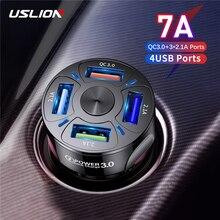 USLION 4 порта USB автомобильная зарядка 48 Вт Быстрая зарядка 7A мини Быстрая зарядка для iPhone 11 Xiaomi Huawei Быстрая Зарядка адаптер в автомобиле