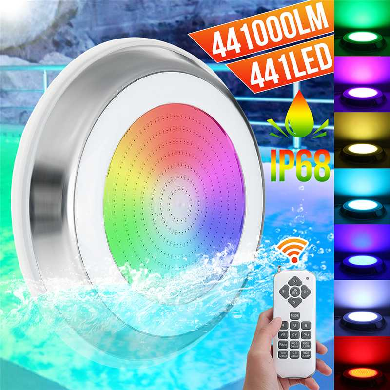Underwater Lights LED Swimming Pool Light 7 Colors RGB 12V 45W Wall Mounted Lamp IP68 Multi-Color 144LED Embedded Fountain Light