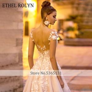 Image 3 - ETHEL ROLYN A Line ชุดแต่งงาน 2020 ปิดไหล่ Backless ลูกไม้โรแมนติก Appliques Beach Boho ชุดเจ้าสาว Vestido De Noiva