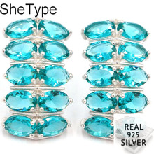 23x13mm 5.57g Elegant Created Rich Blue Aquamarine Gift For Sister 925 Solid Sterling Silver Earrings