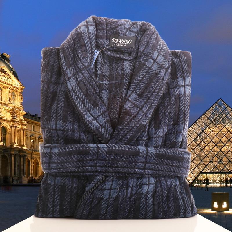 Mens Bathrobes Cotton Robe Thick Long Sleeve Couple Men Robe Plush Shawl Sleepwear Kimono Warm Male Bathrobe Coat Free Shipping