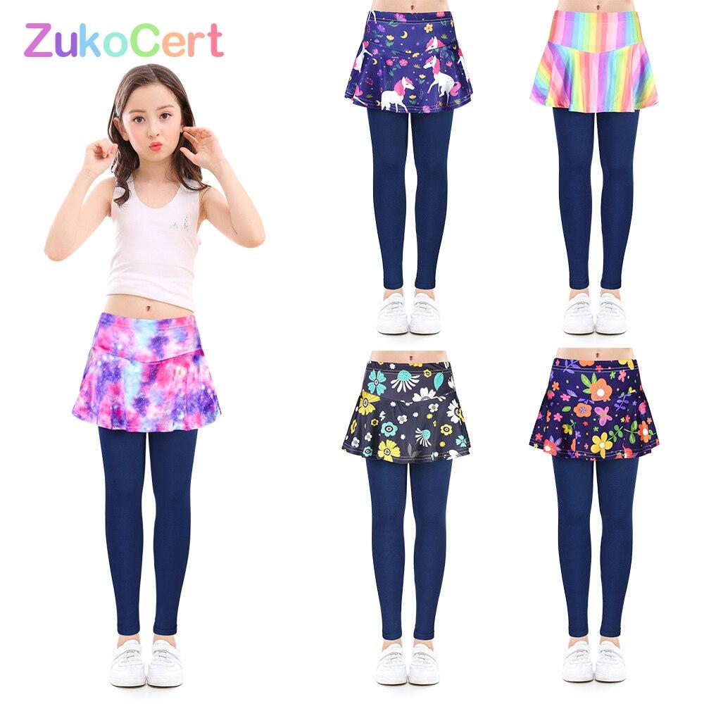 Mallas y pantalones de falda para niña, pantalones elásticos de tubo con estampado Floral, para baile