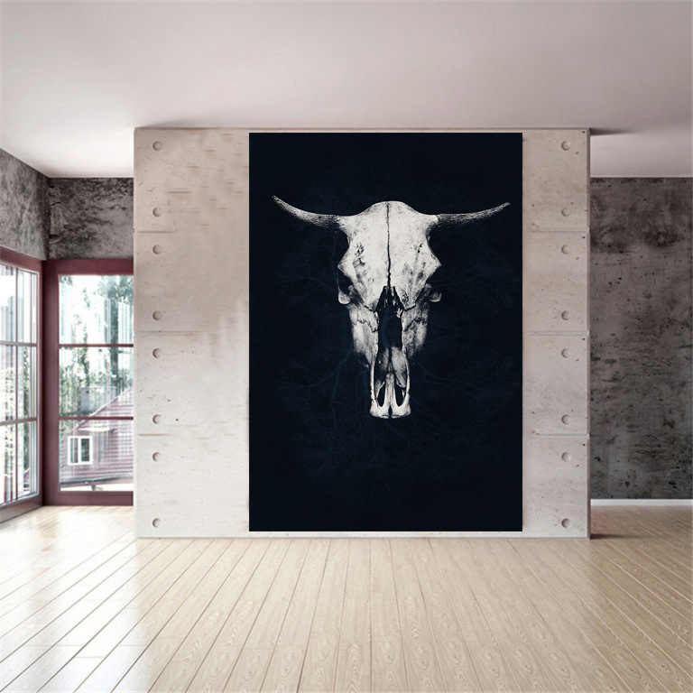 Posters and Prints Bull Skull Black White Poster Scandinavian Decor Nordic Wall Picture for Living Room Wall Art Canvas Print