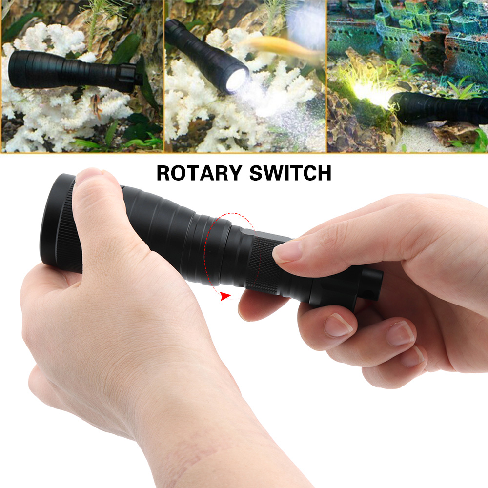 BORUiT XM-L2 LED Scuba Diving Flashlight Underwater 150M Torch Super Bright Diver Lantern Submarine Light for Spearfishing
