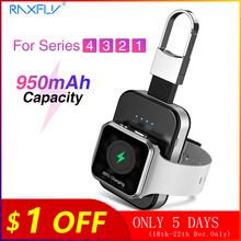 RAXFLY keychain Wireless Charger For Apple i Watch Series 2 3 4 5 950mAH LED Power Bank Dock Outdoor portable Wireless Charger 5