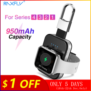 Image 1 - RAXFLY keychain Wireless Charger For Apple i Watch Series 2 3 4 5 950mAH LED Power Bank Dock Outdoor portable Wireless Charger 5