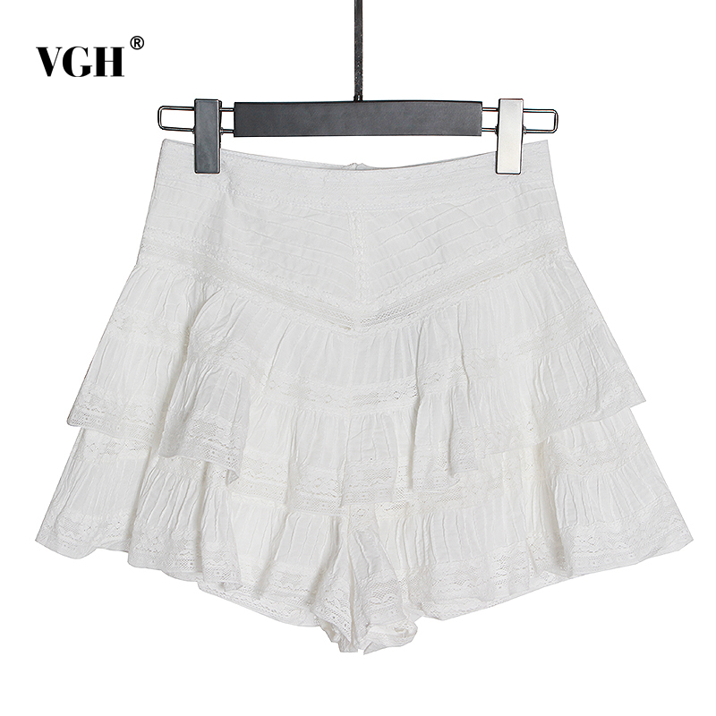 VGH Elegant Ruffles Women Shorts High Waist Hollow Out Striped Lace Casual Shot Pants Female Fashion Clothing 2020 Spring Tide