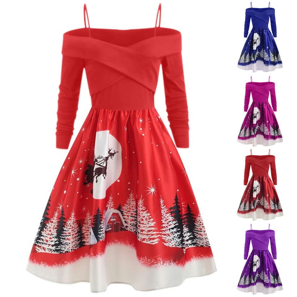 weihnachten frauen kleider casual weihnachten tag kleider damen kleidung  langarm drucken freizeit kleidung plus größe party kleid vestidos
