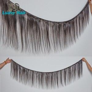 Image 5 - Luasy Brasil Tóc Dệt Lưng Với Khóa Thẳng 100% Remy Tóc Lưng Ren Đóng Cửa 30 32 34 36 38 40 Inch