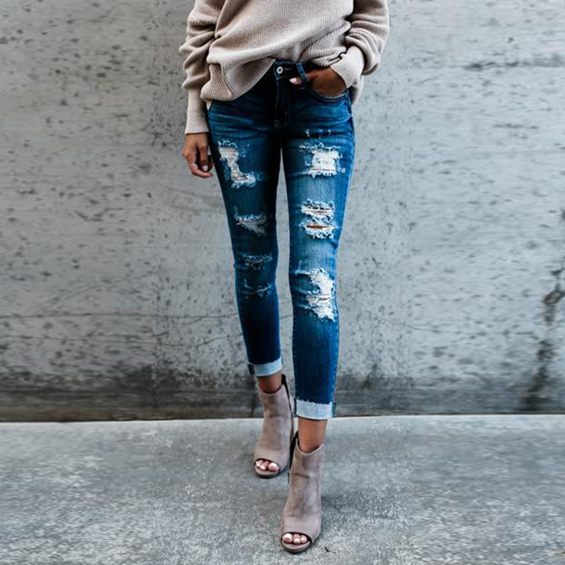 Jeans Style Jeans Pants New Fashion For Women Waist 2019 Boyfriend Mid Pocket Pencil Ripped Fall Cotton Casual Summer Denim