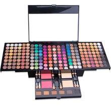 Paleta da sombra caso conjunto de maquiagem 194 cores shimmer fosco sombra de olho cosméticos caixa blush em pó 6 cor bronzer compõem kit 4.5
