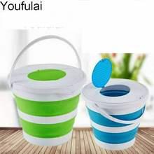 YJ – seau pliable Portable 10l/5l, bassin pliable pour le tourisme en plein air avec couvercles, seau de pêche, Camping, lavage de voiture, seau d'extérieur