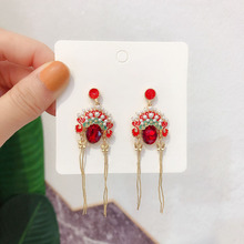 Ladies fashion red crystal pendant earrings Chinese style long tassel earbuds charm jewelry FXM