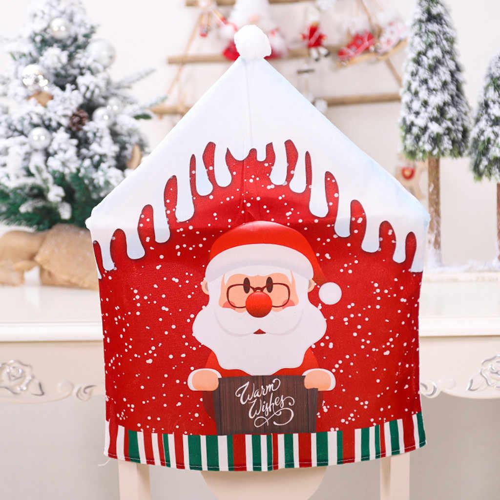 Navidad Santa Claus sombrero fundas de silla de Navidad cena tapa trasera de la silla asiento de comedor decoración Año Nuevo Fiesta suministros #38