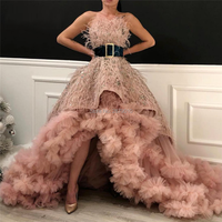 Haute Couture Strapless Ball Gown Evening Dress Sleeveless Floor Length Prom Dress Women Dress Beaded Feathers Sash Tulle Formal