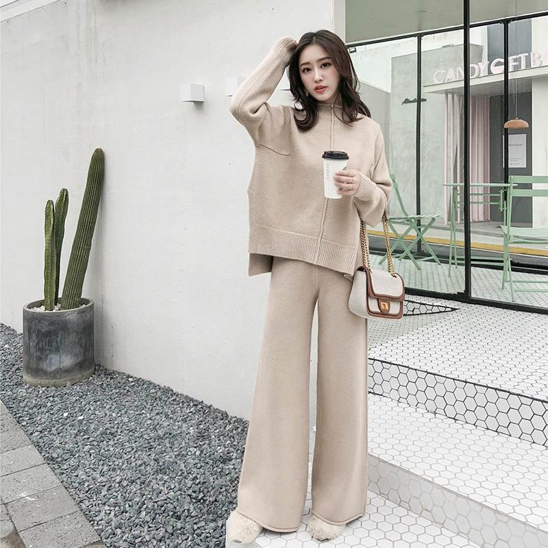 Autumn Winter 2 Piece Set Women Knitted Suit Loose Half Turtleneck Sweater Pullover+Wide Legs Pants Suit Tracksuit Trousers Suit