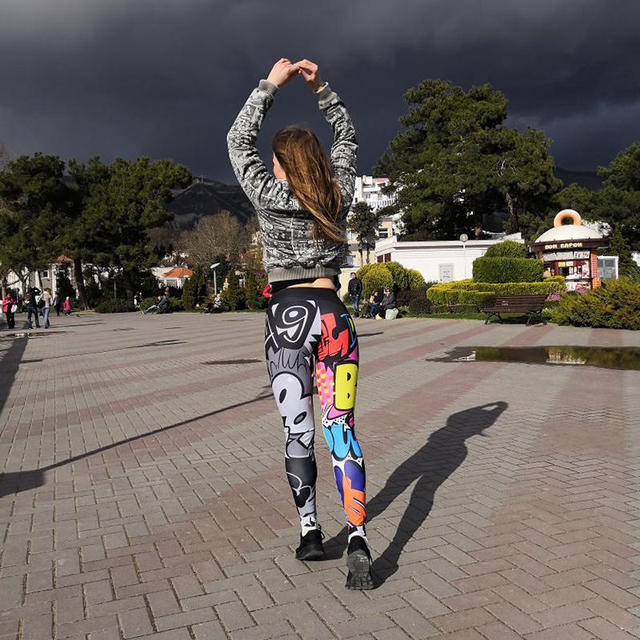 Women Digital Printing Leggings Workout Leggings High Waist Push Up Leggings 4