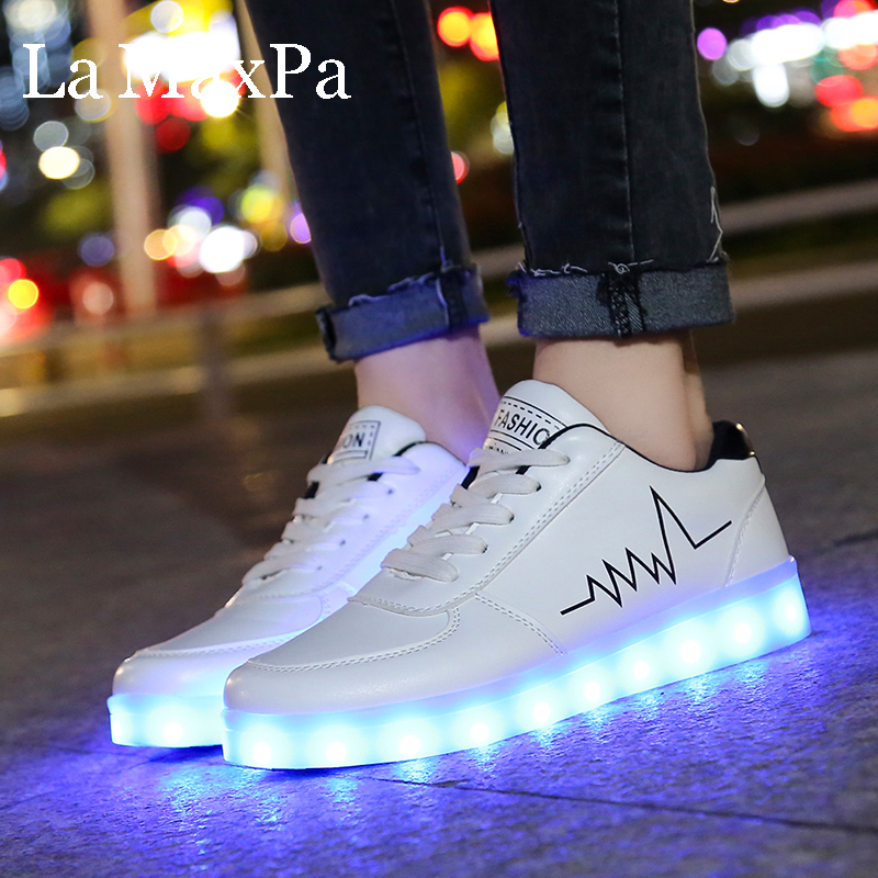 Size 30 44 Luminous Sneakers for Children USB Charge Women Led Shoes  Glowing Girls Sneakers Kids Light Up Shoes Led Slippers|Sneakers| -  AliExpress