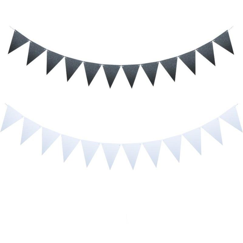 10m 36 bandeiras 8m 18 bandeiras preto branco bunting banners puros flâmula beleza casamento guirlanda bandeiras festa de aniversário decoração solene