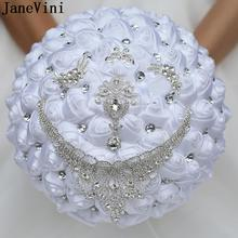 Jewelry Holding-Flowers Wedding-Bouquet Satin Bride Diamond Crystal Bruids Janevini White