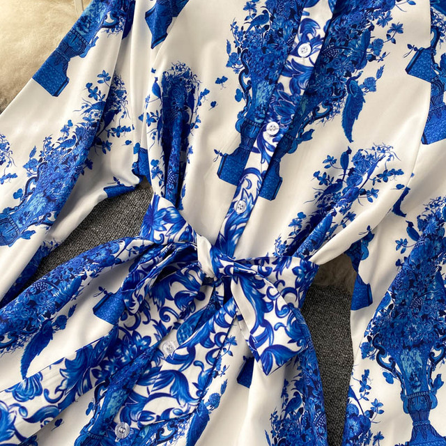 Women Court Wind Print Dress Retro Stand Collar Puff Sleeve Button Dresses Autumn Korean A-line Streetwear Short Dress 3